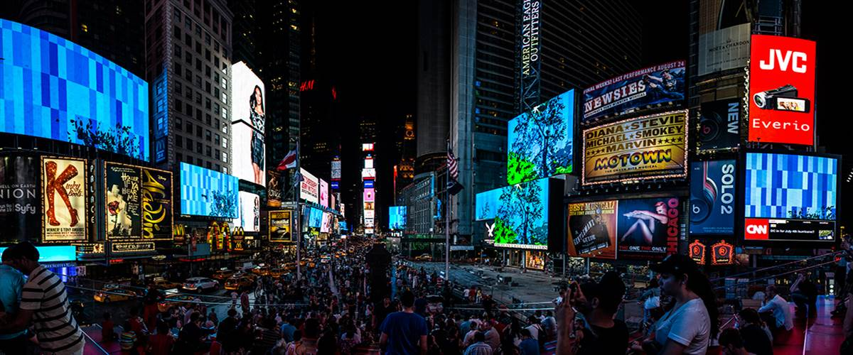 Artist Chris Doyle transformed the concrete jungle of Times Square into a flourishing canyon landscape.