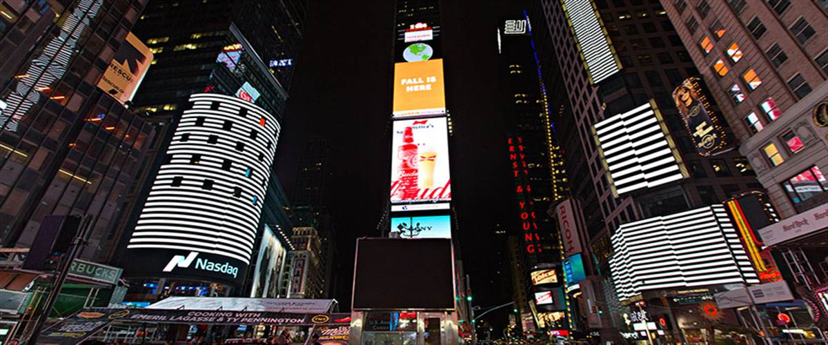 Japanese artist Ryoji Ikeda's film test pattern was re-imagined for the Times Square billboards in October 2014.