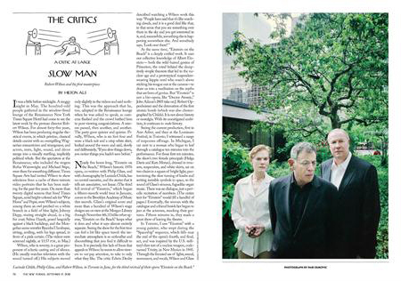 new yorker article on robert wilson 2012