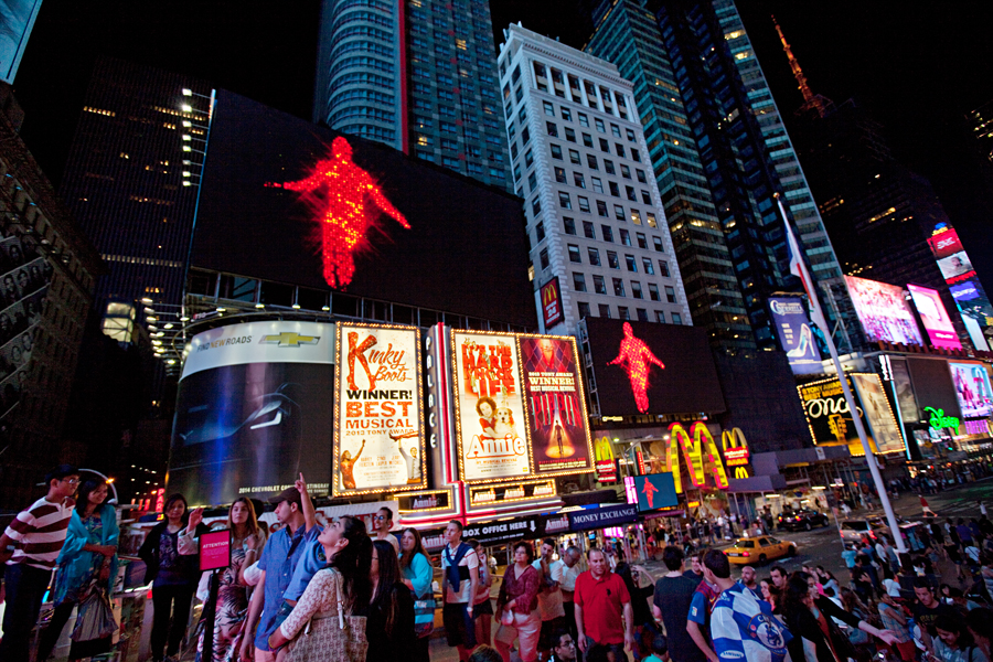 Midnight Moment: Jack Goldstein, The Jump. August 1 -31, 2013;  11:57pm - midnight every night.  photograph by Ka-Man Tse for @TSqArts.
